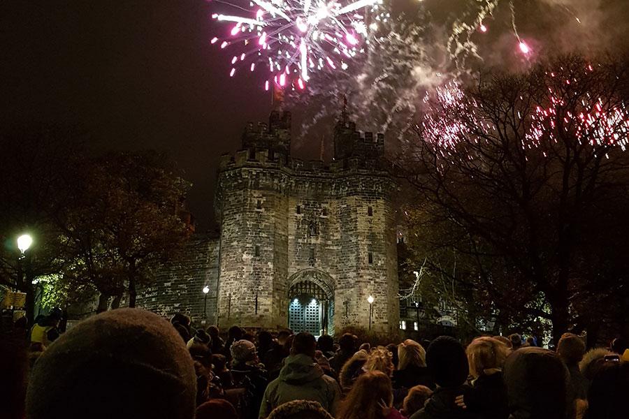 Fireworks over Lancaster castle for Light Up Lancaster