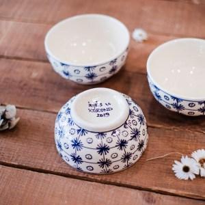 bols blancs motif flocon bleu