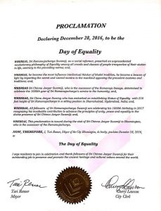 Bloomington Officials Announced 28th/Dec/2016 As The Day Of Equality