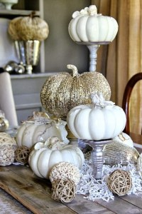 white pumpkins and mercury glass thanksgiving
