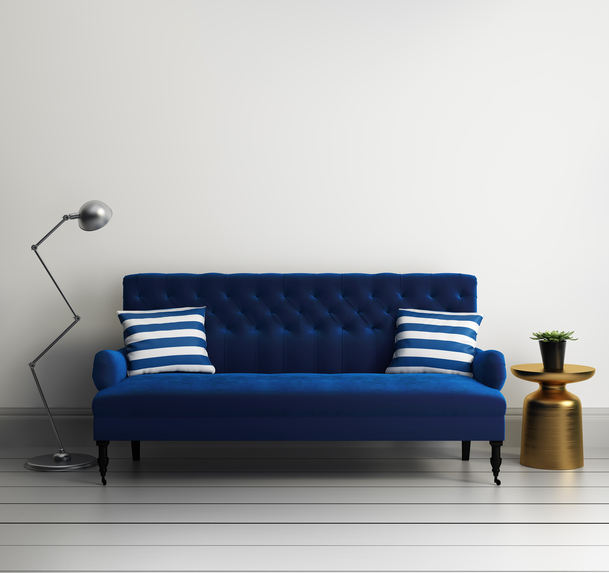 Contemporary elegant luxury blue velvet sofa