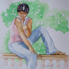 """""""Saharawi Girl"""" Watercolor 9X9"""""""