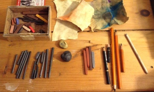 Charcoal and Conte Crayon drawing supplies