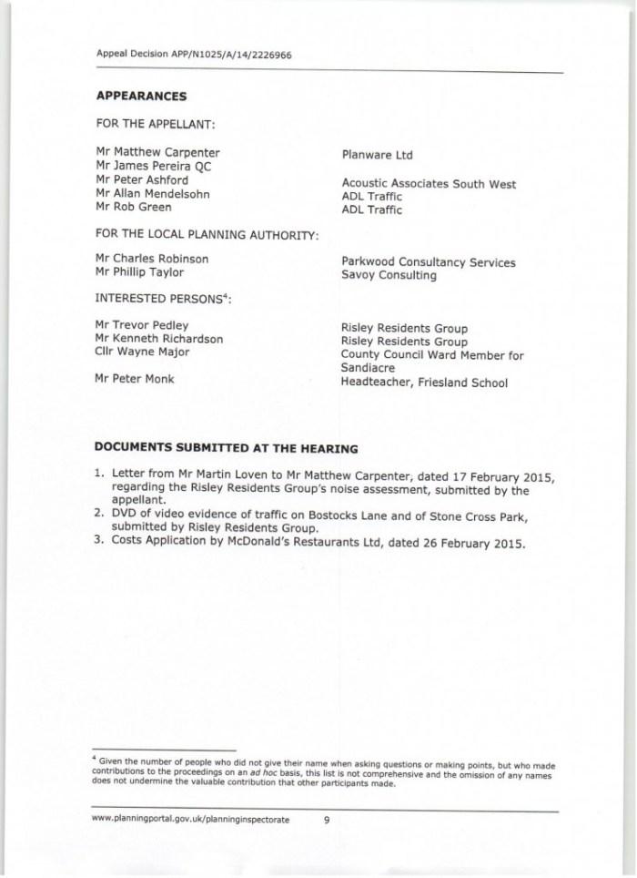 Appeal Decision re Macdonalds at Sandacre NG10 5QC0009