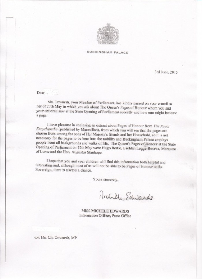 Buckingham Palace reply re Queen's Pages of Honour 03 jun 2015
