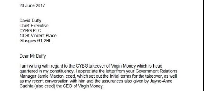 Letter to CYBG raising concerns and seeking assurances regarding Virgin Money takeover