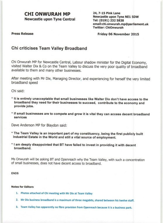 Chi criticises Team Valley Broadband