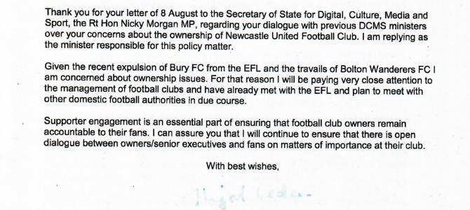 Minister's response to ownership concerns regarding Newcastle United