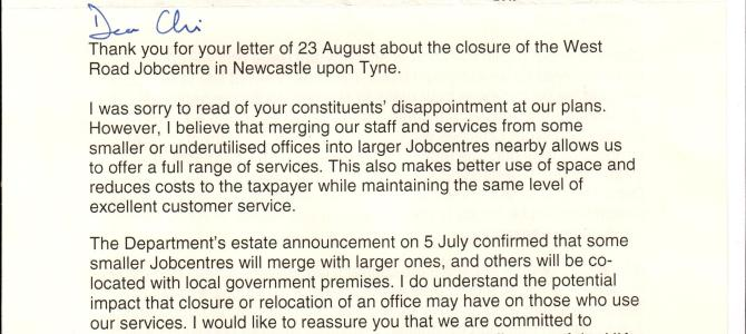 Closure of West Road Jobcentre