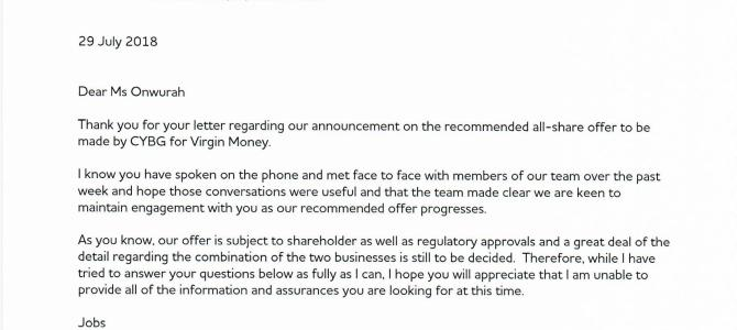 CYBG reply letter re Virgin Money takeover