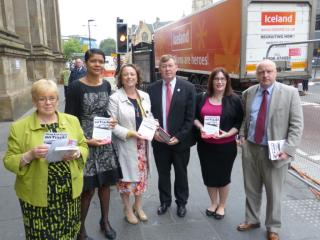 North East MPs campaigning against the privatisation of East Coast at Central Station. L-R: Mary Glindon MP, Chi Onwurah MP, Catherine McKinnell MP, Ian Mearns MP, Stephen Hepburn MP