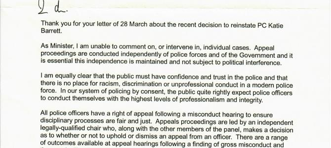 Home Office Minister's reply regarding PC Katie Barrett being re-instated