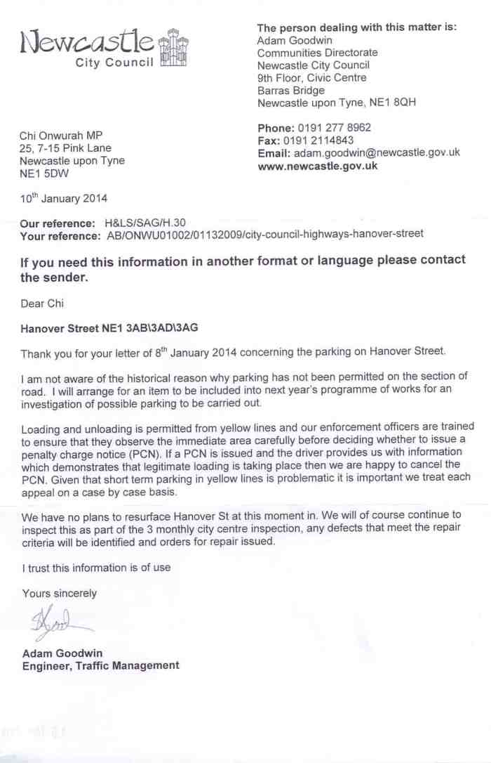 Hanover Steet parking reply from Newcastle City Council 10 Jan 2014
