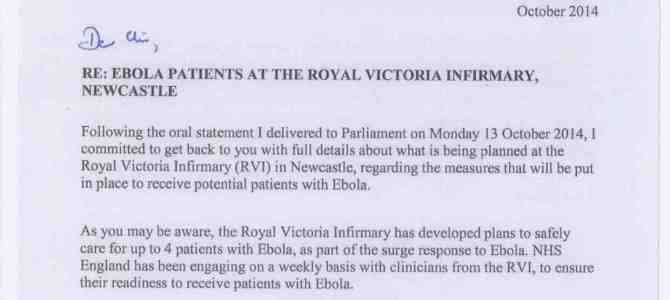 Jeremy Hunt Secretary of State for Health reply regarding Ebola patients at the RVI