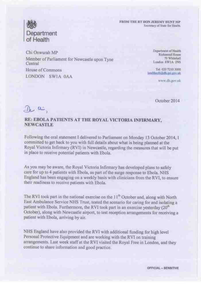 Jeremy Hunt SoS for Health reply re Ebola patients at the RVI Oct 2014
