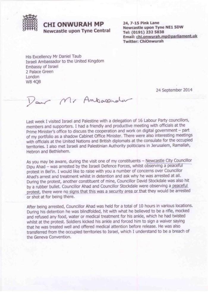Letter to Ambassador of Israel p1 24 September 2014