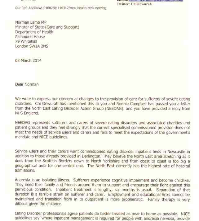 MP joint letter to Norman lamb re REDS at RVI 03 march 2014
