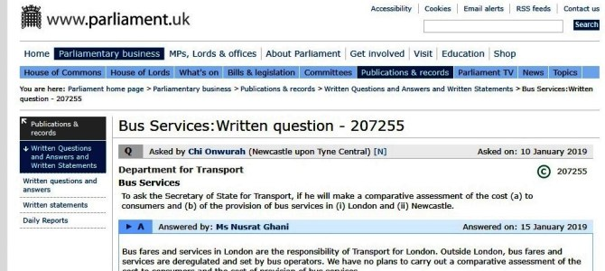 Minister's uncaring reply to Parliamentary Question on bus transport