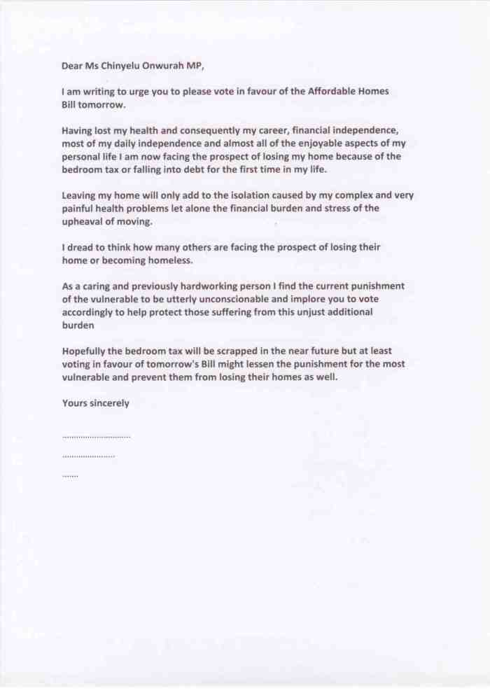 The bedroom tax - punishment of the vulnerable - email setting out the savage impact on a resident in Newcastle