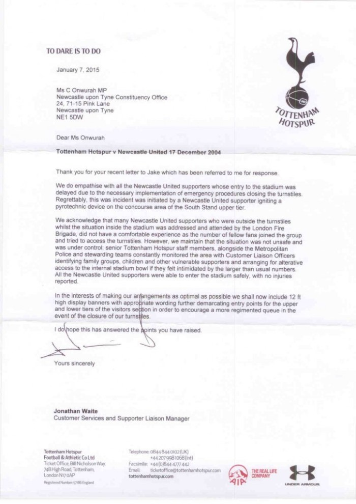 Tottenham Hotspur reply re crowd control on 17 Dec 14 reply  07 January 2015