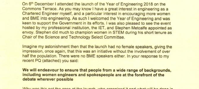 Launch of Year of Engineering 2018 – lack of diversity