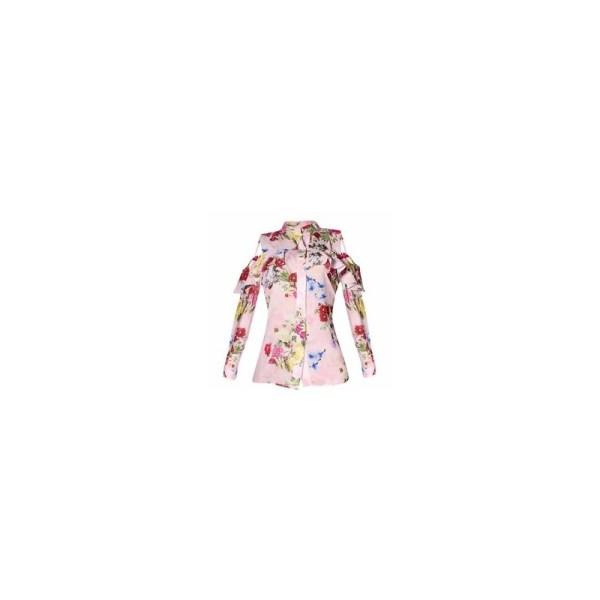 Floral Chiffon Cold Shoulder Long Sleeve Shirt