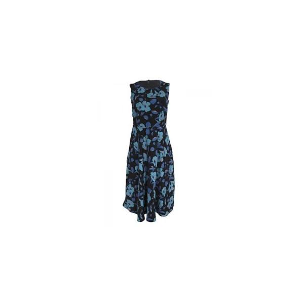 Papaya Sleeveless Flare Dress - Blue Floral
