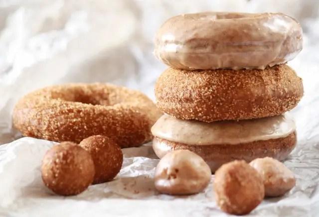 Pumpkin donuts (cake donuts) with cinnamon