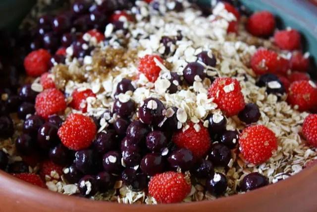 Raspberry-blueberry healthy baked oatmeal