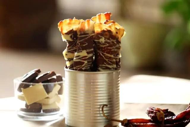Panceta cubierta con chocolate picante