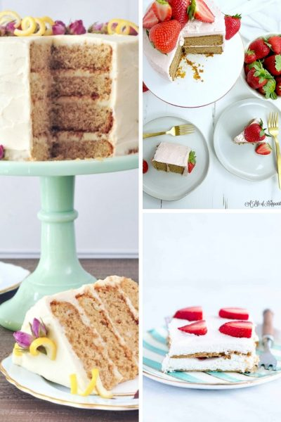 lemon elderflower cake, strawberry almond flour cake, gluten-free strawberry icebox cake