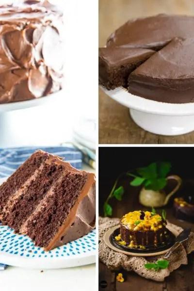 chocolate cake, sweet potato cake, and chocolate passion fruit cake