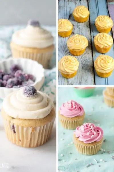 blueberry cupcakes, lemon cupcakes, vanilla cupcakes