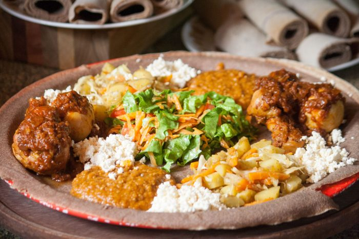 Platter with different Ethiopian dishes
