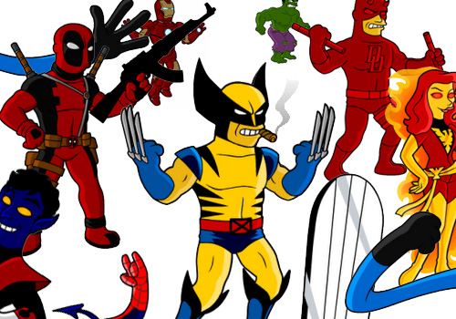 50 Marvel Super Heroes as Simpson's characters