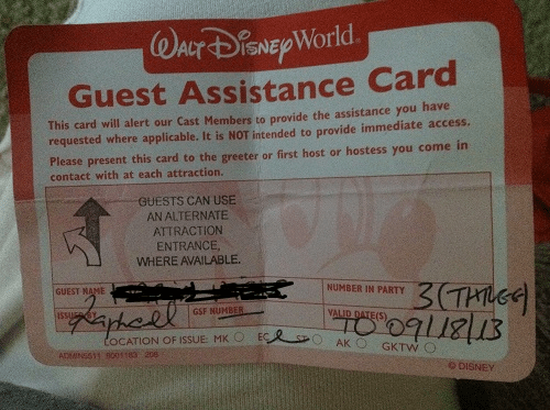 Guest Assistance Card to Become Disabled Assistance Service