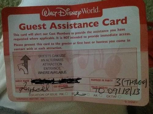 Guest Assistance Card Program Update