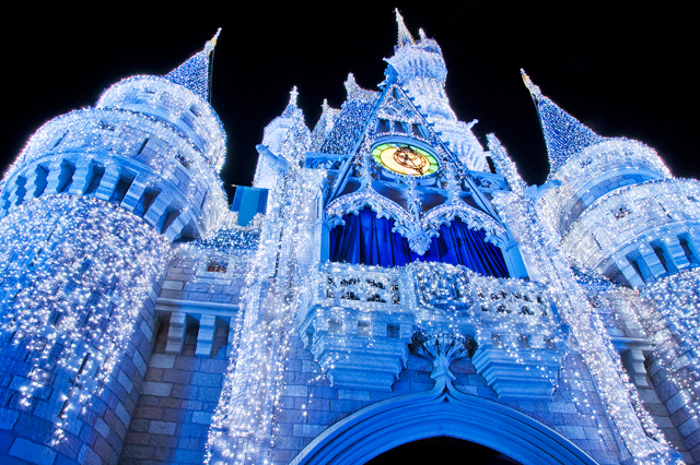 Disney World Christmas with Cinderella Castle Lights Video