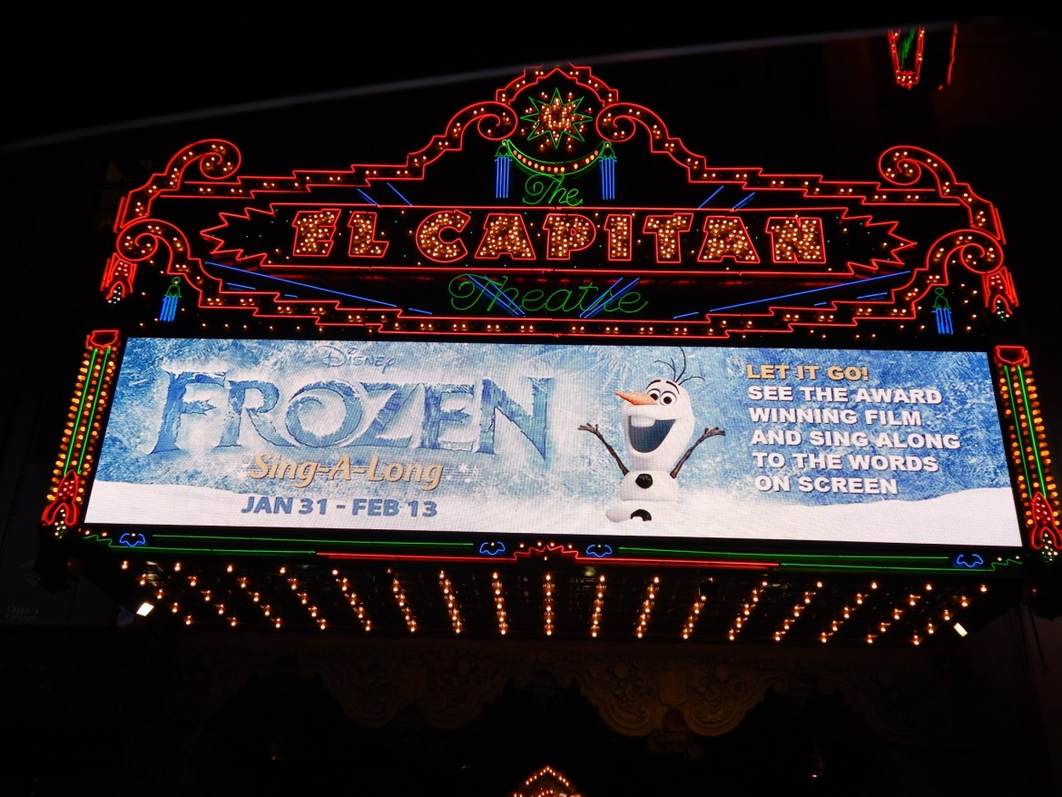 Frozen Sing-a-long At The El Capitan Theatre In Hollywood!