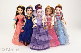 """Descendants Coronation Doll Assortment Licensee: Hasbro MSRP: $24.99 each Retailers: Mass retailers Available: August 2015 The girls of Isle of the Lost and Auradon come together in their coronation fashions as seen in the finale of Disney's """"Descendants."""" Each doll features a beautiful gown with matching accessories. (Each sold separately)"""