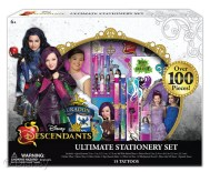 """Descendants Ultimate Stationery Set Licensee: Innovative Designs MSRP: $14.99 Retailers: Toys """"R"""" Us Available: Now This back to school essential includes a spiral journal, plastic pencil case, sticker sheet, slap bracelet ruler, three mini gel pens, lipstick eraser and more!"""