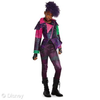 """Descendants Mal Costume for Kids MSRP: $44.95 Retailers: Disney Store and DisneyStore.com Available: Now It's easy to imagine being the star of the Disney Channel movie """"Descendants"""" with this Mal costume. Wearing this two-piece outfit with faux leather jacket, your student of spells will transform into the daughter of villainous Maleficent."""