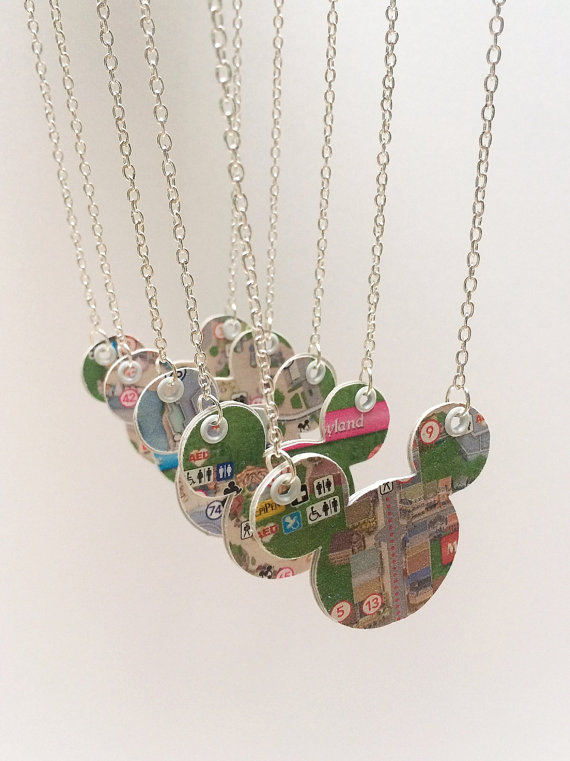 Disney Finds – Upcycled Disney Park Map Necklaces