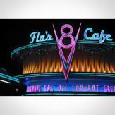 Flo's Cafe at night