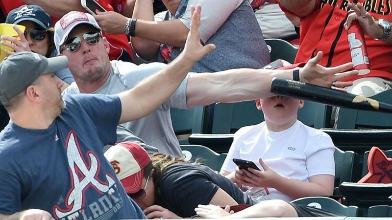 Dad saves boy from being hit by baseball bat during Spring training game at ESPN Wide World of Sports