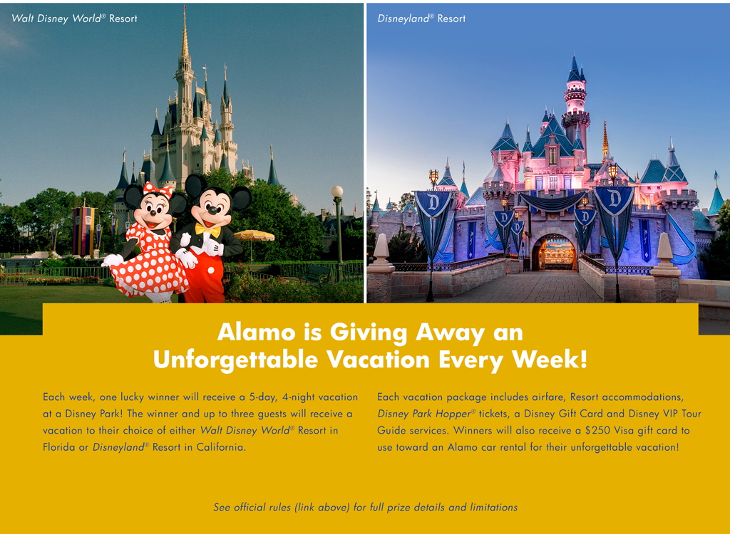 Alamo Rent-A-Car sweepstakes – I wanna Disney Parks Vacation from Alamo!