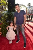"""HOLLYWOOD, CALIFORNIA - APRIL 04: TV personality Mario Lopez (R) and Gia Lopez attend The World Premiere of Disney's """"THE JUNGLE BOOK"""" at the El Capitan Theatre on April 4, 2016 in Hollywood, California. (Photo by Alberto E. Rodriguez/Getty Images for Disney) *** Local Caption *** Mario Lopez; Gia Lopez"""