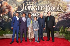 """HOLLYWOOD, CALIFORNIA - APRIL 04: (L-R) Actors Ritesh Rajan, Giancarlo Esposito, Lupita Nyong'o, Neel Sethi, Ben Kingsley and director/producer Jon Favreau attend The World Premiere of Disney's """"THE JUNGLE BOOK"""" at the El Capitan Theatre on April 4, 2016 in Hollywood, California. (Photo by Jesse Grant/Getty Images for Disney) *** Local Caption *** Neel Sethi; Lupita Nyong'o; Ritesh Rajan; Ben Kingsley; Giancarlo Esposito; Jon Favreau"""