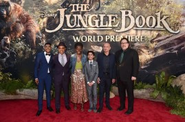 """HOLLYWOOD, CALIFORNIA - APRIL 04: (L-R) Actors Ritesh Rajan, Giancarlo Esposito, Lupita Nyong'o, Neel Sethi, Ben Kingsley and director/producer Jon Favreau attend The World Premiere of Disney's """"THE JUNGLE BOOK"""" at the El Capitan Theatre on April 4, 2016 in Hollywood, California. (Photo by Alberto E. Rodriguez/Getty Images for Disney) *** Local Caption *** Neel Sethi; Lupita Nyong'o; Ritesh Rajan; Ben Kingsley; Giancarlo Esposito; Jon Favreau"""