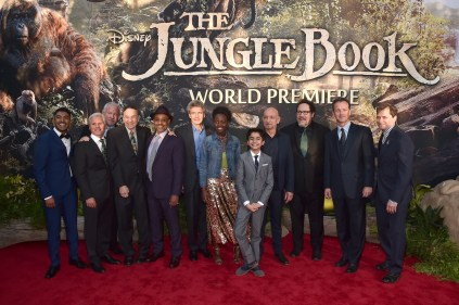 """HOLLYWOOD, CALIFORNIA - APRIL 04: (L-R) Actor Ritesh Rajan, producer Brigham Taylor, composer John Debney, composer Richard Sherman, actor Giancarlo Esposito, Chairman of the Walt Disney Studios, Alan Horn, actors Lupita Nyong'o, Neel Sethi, Sir Ben Kingsley, director Jon Favreau, President of Walt Disney Studios Motion Picture Production, Sean Bailey and EVP Production, The Walt Disney Company, Sam Dickerman attend The World Premiere of Disney's """"THE JUNGLE BOOK"""" at the El Capitan Theatre on April 4, 2016 in Hollywood, California. (Photo by Alberto E. Rodriguez/Getty Images for Disney) *** Local Caption *** Ritesh Rajan; Brigham Taylor; John Debney; Richard Sherman; Giancarlo Esposito; Alan Horn; Lupita Nyong'o; Neel Sethi; Ben Kingsley; Jon Favreau; Sean Bailey; Sam Dickerman"""